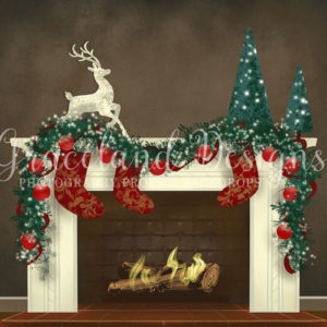Christmas Fire – Fully Decorated – Brick Fire Place