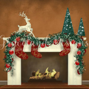 Christmas Fire – Brown – Fully Decorated