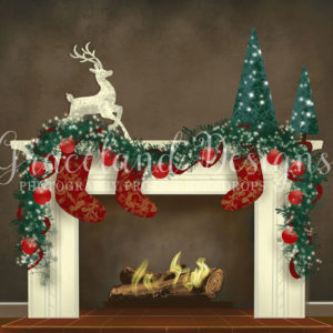 Christmas Fire – Grey – Fully Decorated