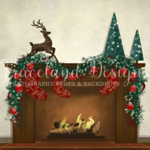Christmas Fire – White – Fully Decorated